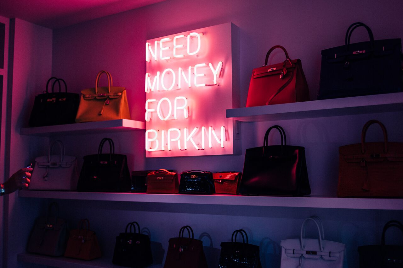 """Need Money for Birkin"" neon, © Beau Dunn"