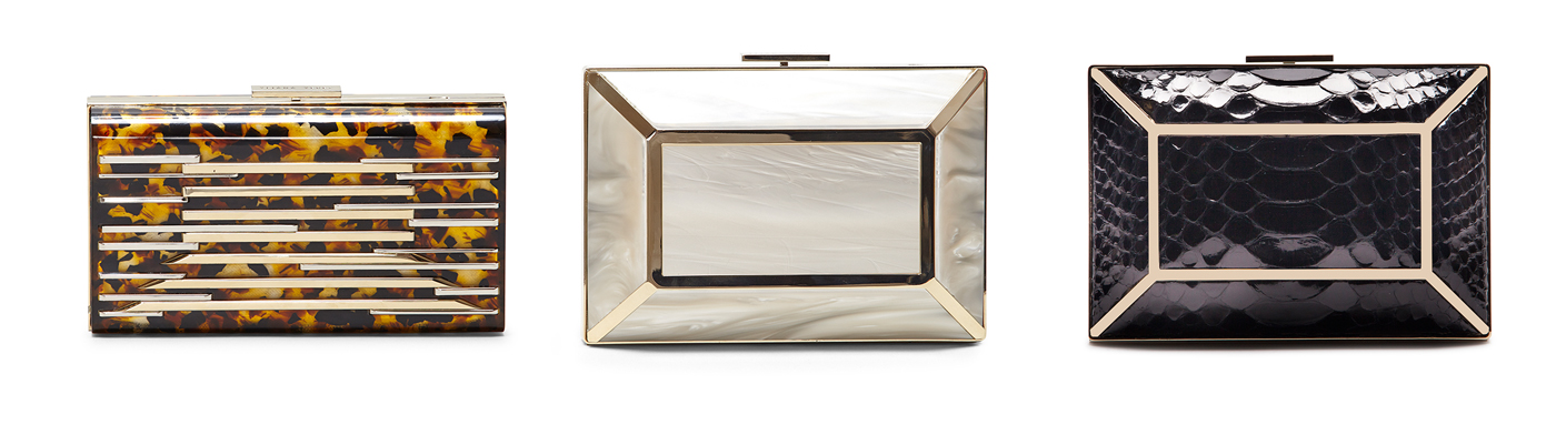 The Layla Tortoiseshell, Gaia Mother of Pearl and Gaia Python clutch bags from Yliana Yepez's Evening collection.