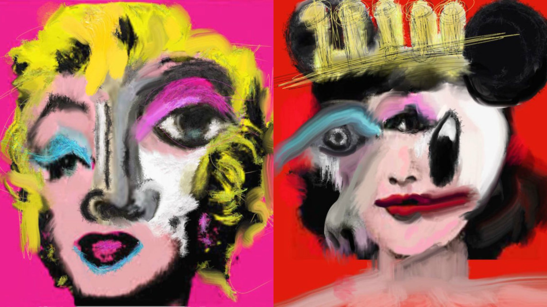 Marilyn and Mickey transformed by artist Jean Paul Fauves - PLEASE! Magazine
