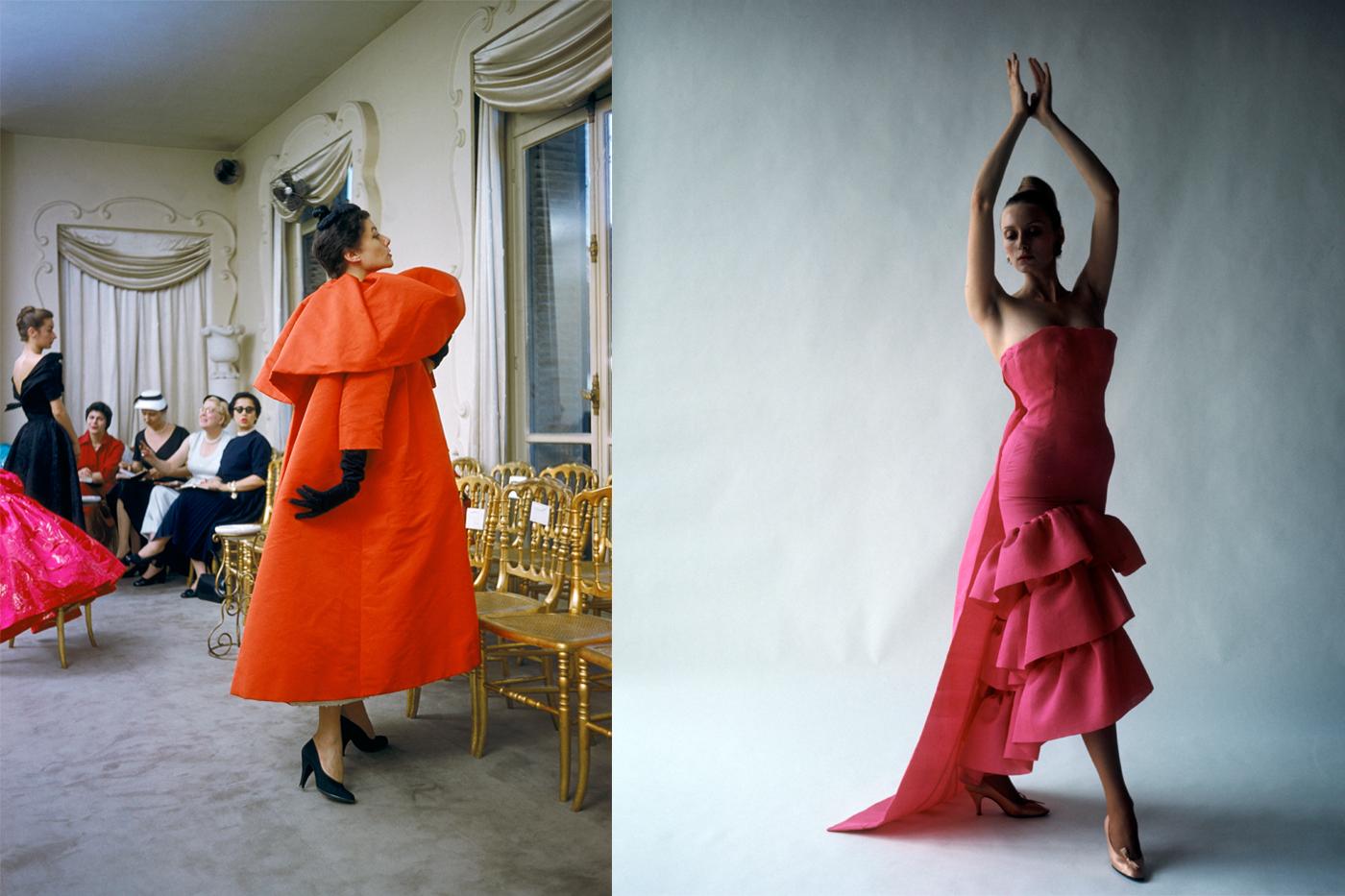 Un mannequin portant un manteau orange Balenciaga, Paris, 1954 © Mark Shaw / Robe du soir style flamenco, Cristóbal Balenciaga, Paris, 1961 © Cecil Beaton