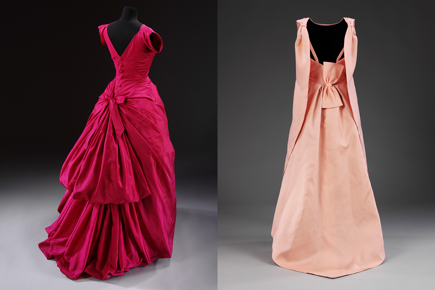 Evening dress, silk taffeta, Cristóbal Balenciaga, Paris, 1955 / 'La Tulipe' evening dress, gazar, Balenciaga for EISA, Spain, 1965 both © Victoria and Albert Museum, London