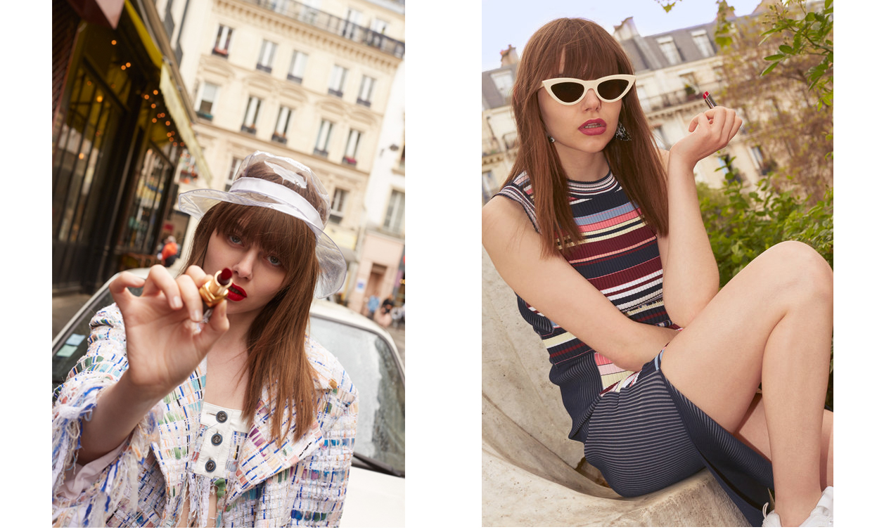 Left : Lipstick, Chanel. Total look, Chanel. Right : Dress, Sportmax. Sunglasses, Celine. Sneakers, Fila. Lipstick, Dior.